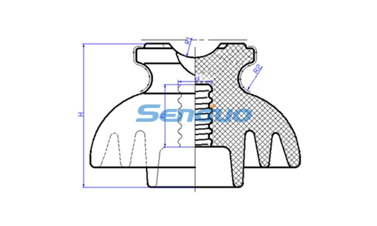 ANSI 55-4 11kV Ceramic Pin Insulator-Senduo Insulator