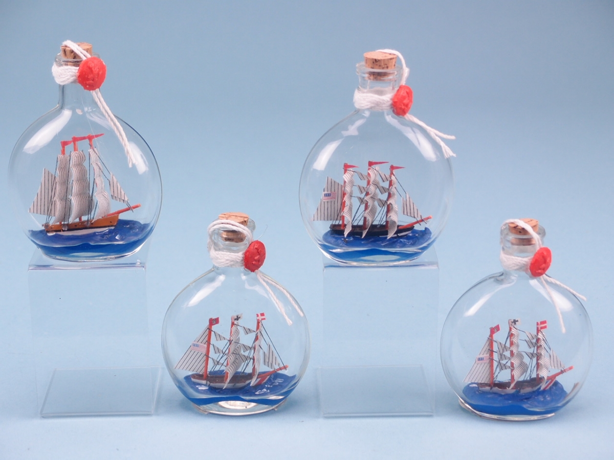 Ship In Small Round Bottle 10cm Nauticals SDL Imports