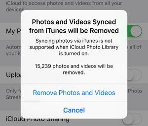 iCloud photo backup warning message