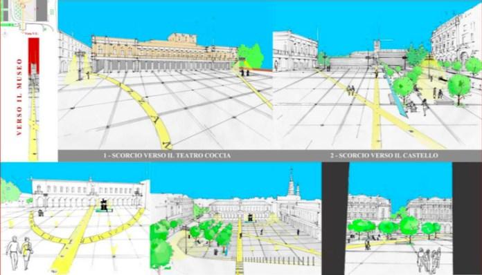 Novara, piazza Martiri pedonalizzata, i progetti degli architetti