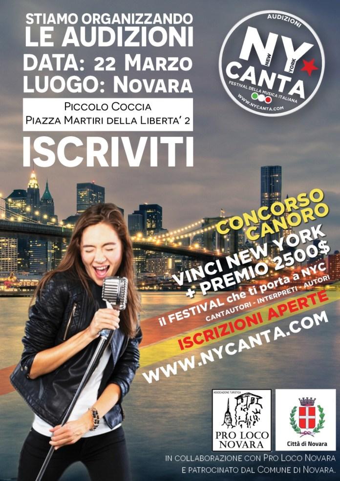 NY Canta a Novara il 22 marzo al Piccolo Coccia