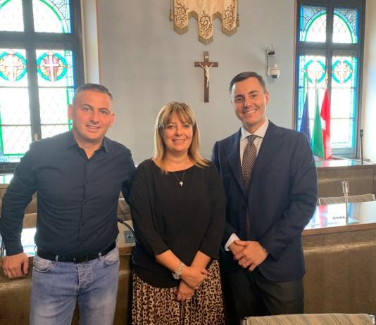 Roberto Claudi, l'assessore Elisabetta Franzoni e l'assessore Luca Piantanida presentano il Luna Park 2019 a Novara