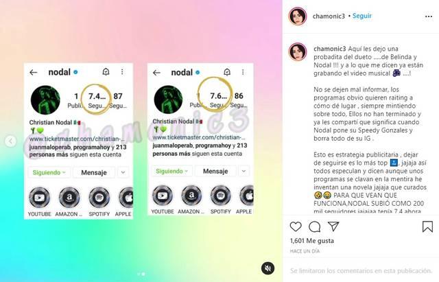 Christian Nodal aumentó de seguidores tras polémica con Belinda