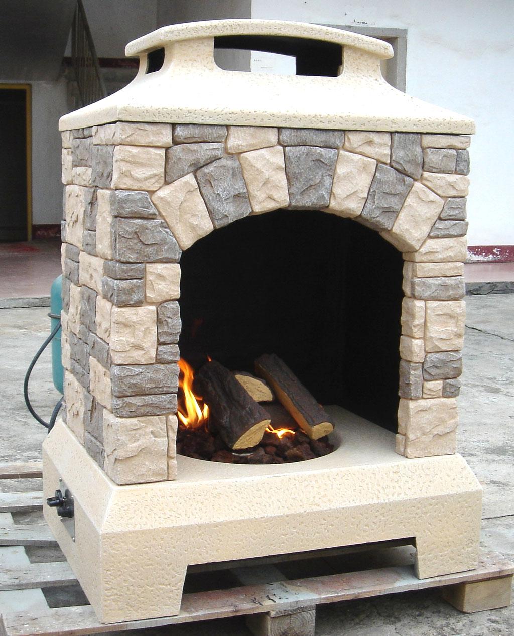 New 2016 Tuscan Stone Style Outdoor Backyard Fireplace Gas Fire Pit w Fire Logs  eBay