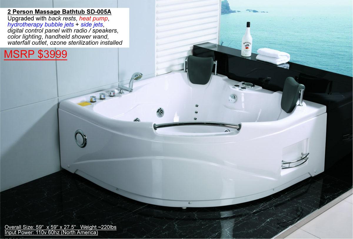 2 Person Indoor Hot Tub Jacuzzi Bathtub Sauna Hydrotherapy Massage SPA  Shower  eBay