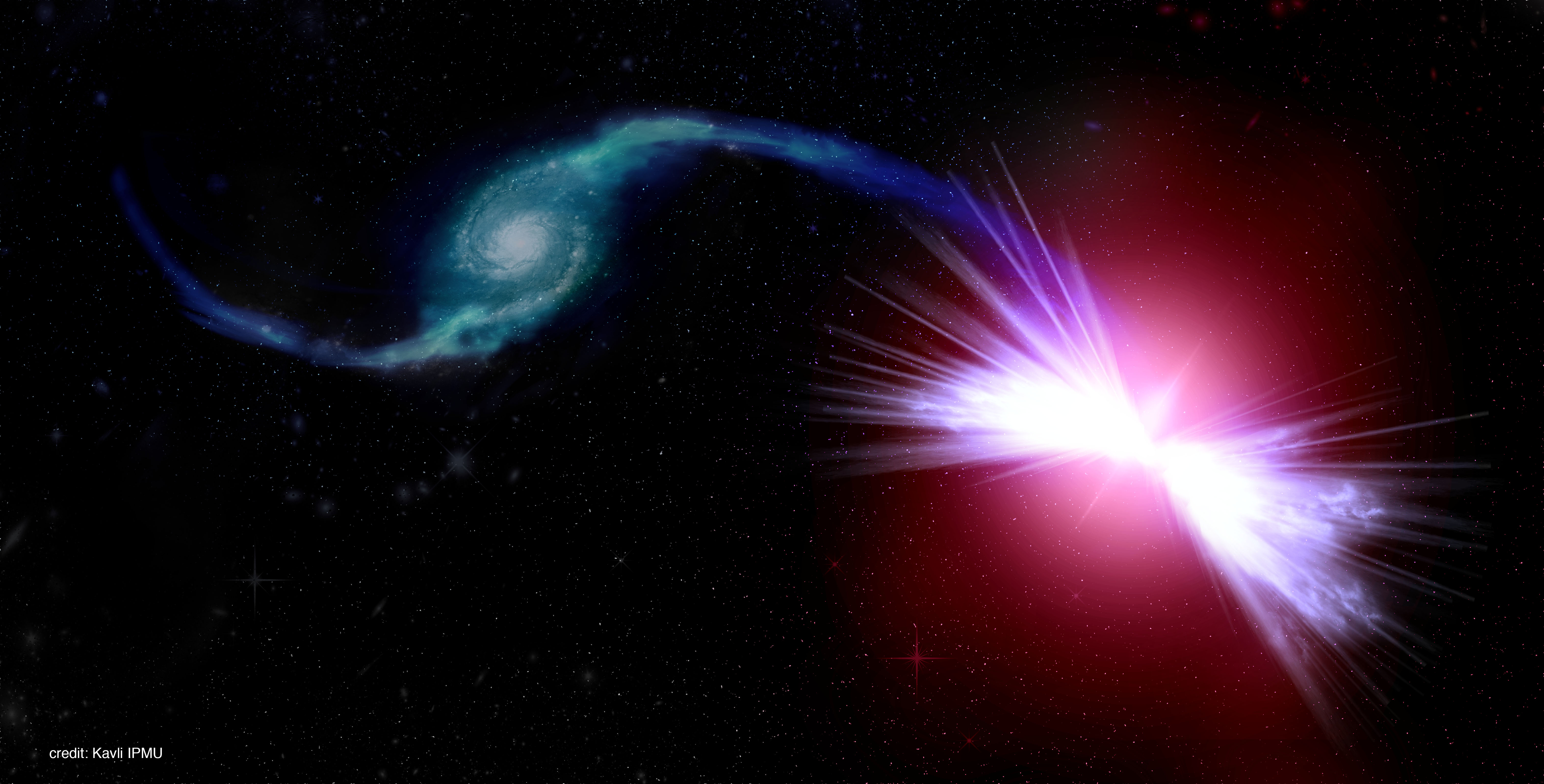 An artist's rendition of the galaxies Akira (right) and Tetsuo (left) in action.  Akira's gravity pulls Tetsuo's gas into its central supermassive black hole, fueling winds that have the power to heat Akira's gas. The action of the black hole winds prevents a new cycle of star formation in Akira.  Image Credit: Kavli IPMU
