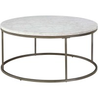 Alana Coffee Table Round White Marble Top - Buethe.org
