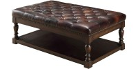 2018 Popular Brown Leather Ottoman Coffee Tables With Storages