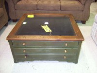 Coffee Table Glass Top Display Drawer