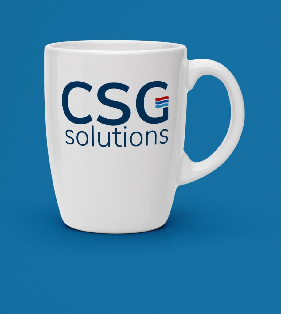 CSG Solutions logo design on mug