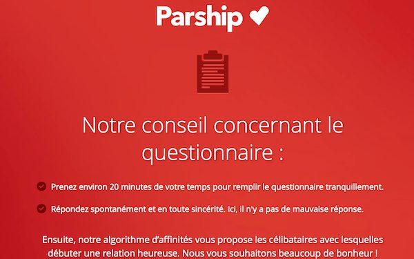 Conseils de Parship sur son questionnaire de rencontre par affinité.