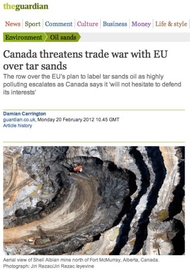 Canada threatens trade war with EU over tar sands