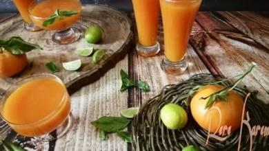 صورة كيفية تحضير عصير البرتقال واليوسيفي والجزر
