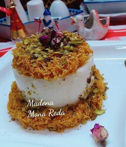 """طبخات بنت الشام"""" تحضير قالب ليالي لبنان بالكنافة"""