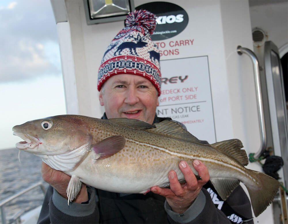 Bristol Channel Cod Fishing: 8lb cod for Wayne Thomas