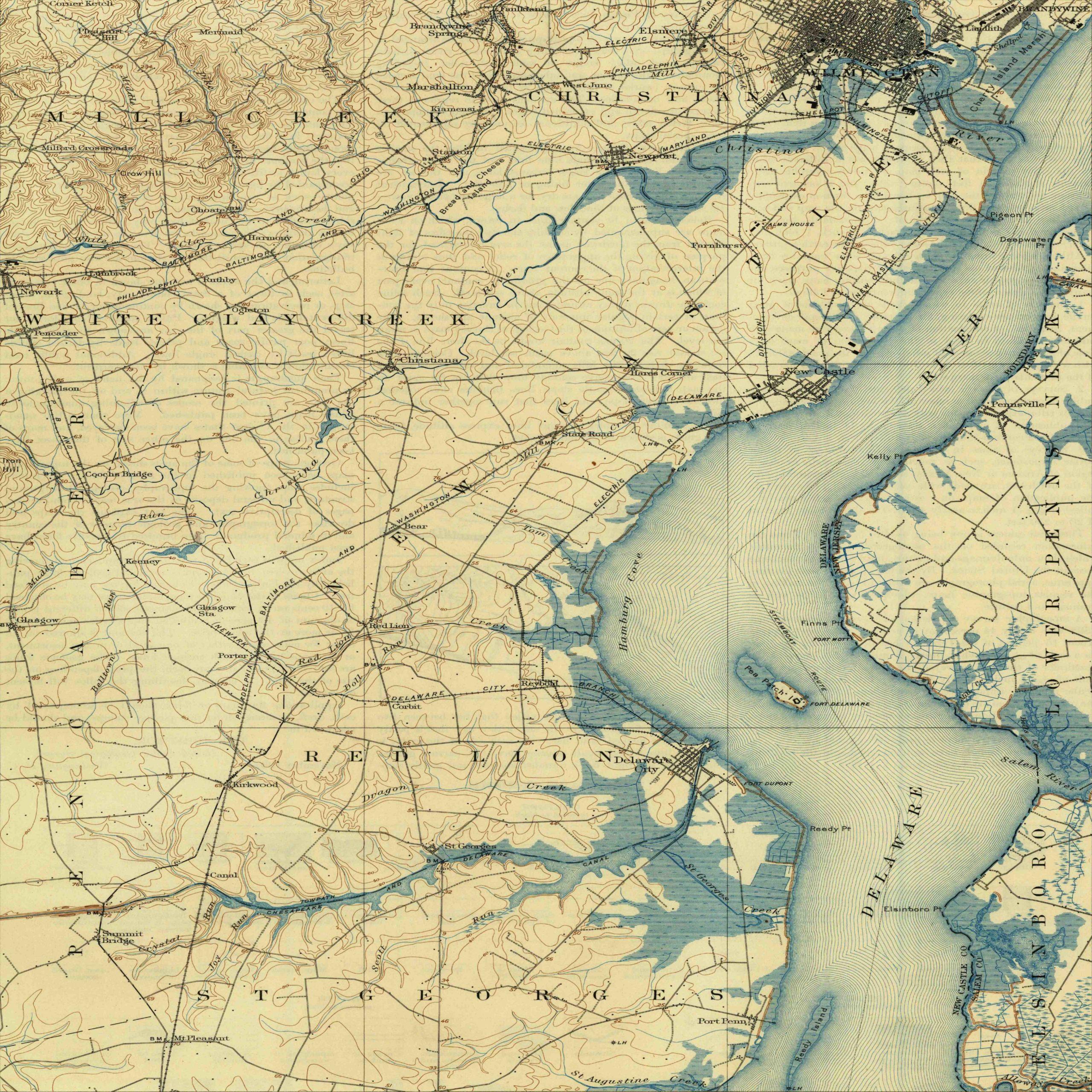 1906 Map of Wilmington, DE and the Delaware river estuary