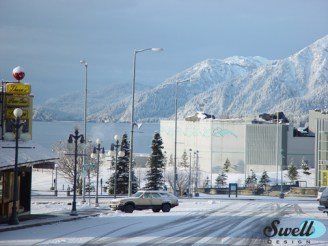 View of downtown Seward in the winter.