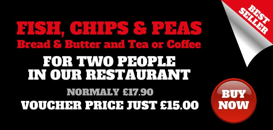 voucher fish chips and peas in the restaurant for 2 at Seafarers