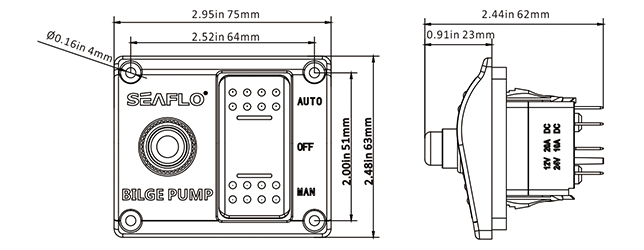 SEAFLO 3-Way Marine Boat Electric Switch Panel Used with
