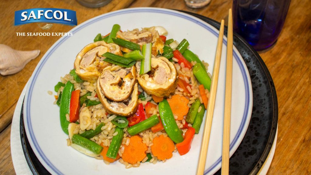 Tuna egg roll and brown rice stir fry