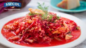 Smoked salmon beetroot fennel risotto