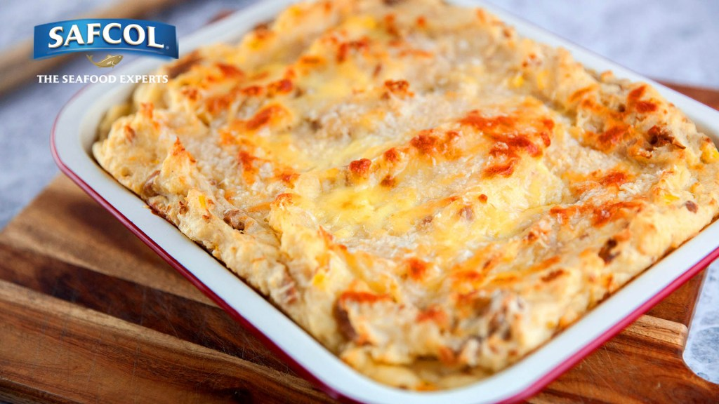 Tuna and Potato Gratin in a baking dish