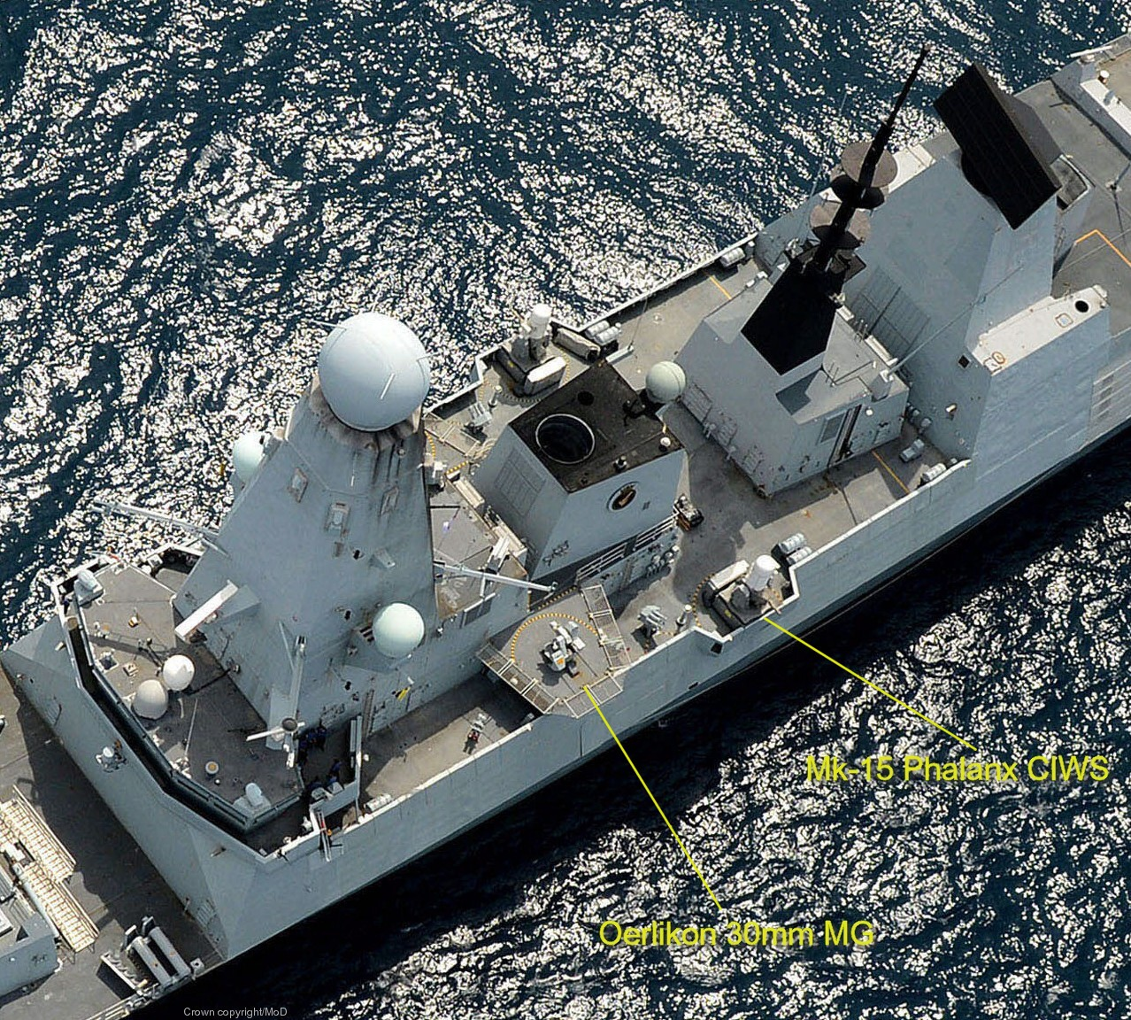 type 45 daring class destroyer oerlikon 30mm machine gun mk-15 phalanx ciws