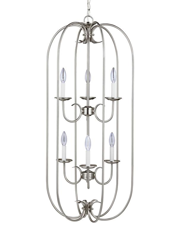 51807-962,Six Light Hall / Foyer,Brushed Nickel