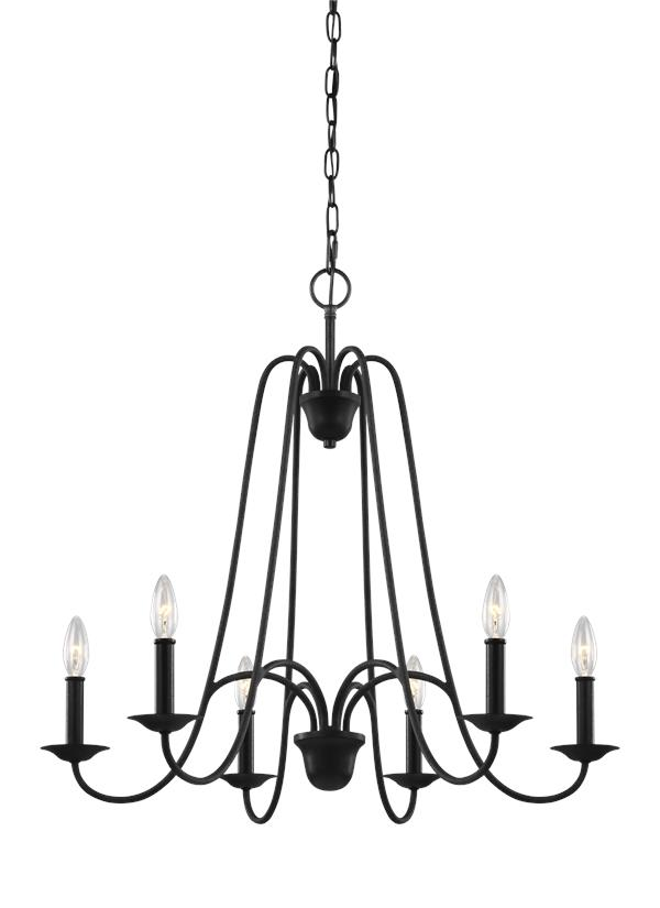F3205/6AF,Six Light Chandelier,Antique Forged Iron