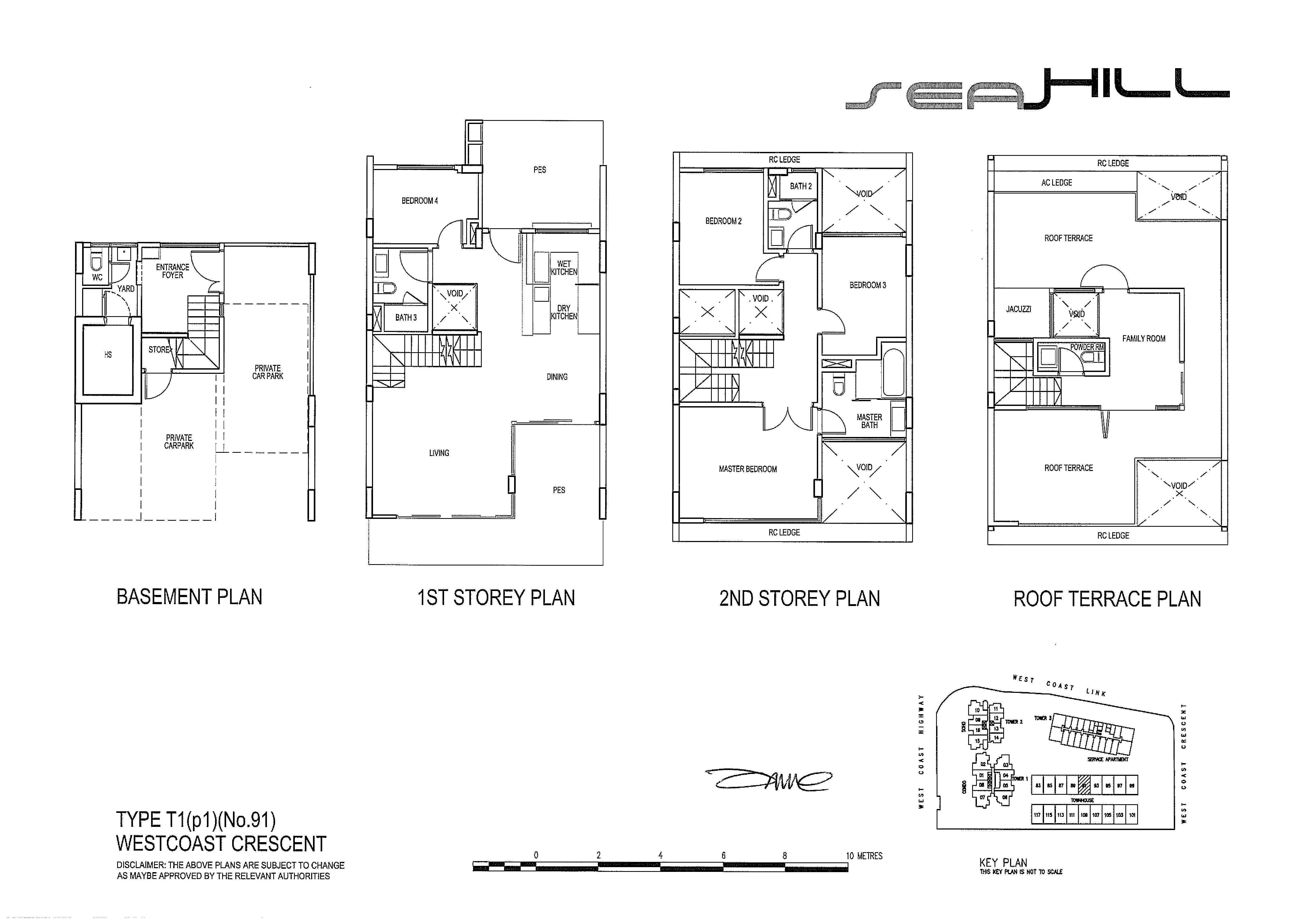 Seahill 4 Bedroom Townhouse Type T1(p1) (No.91) Floor Plans