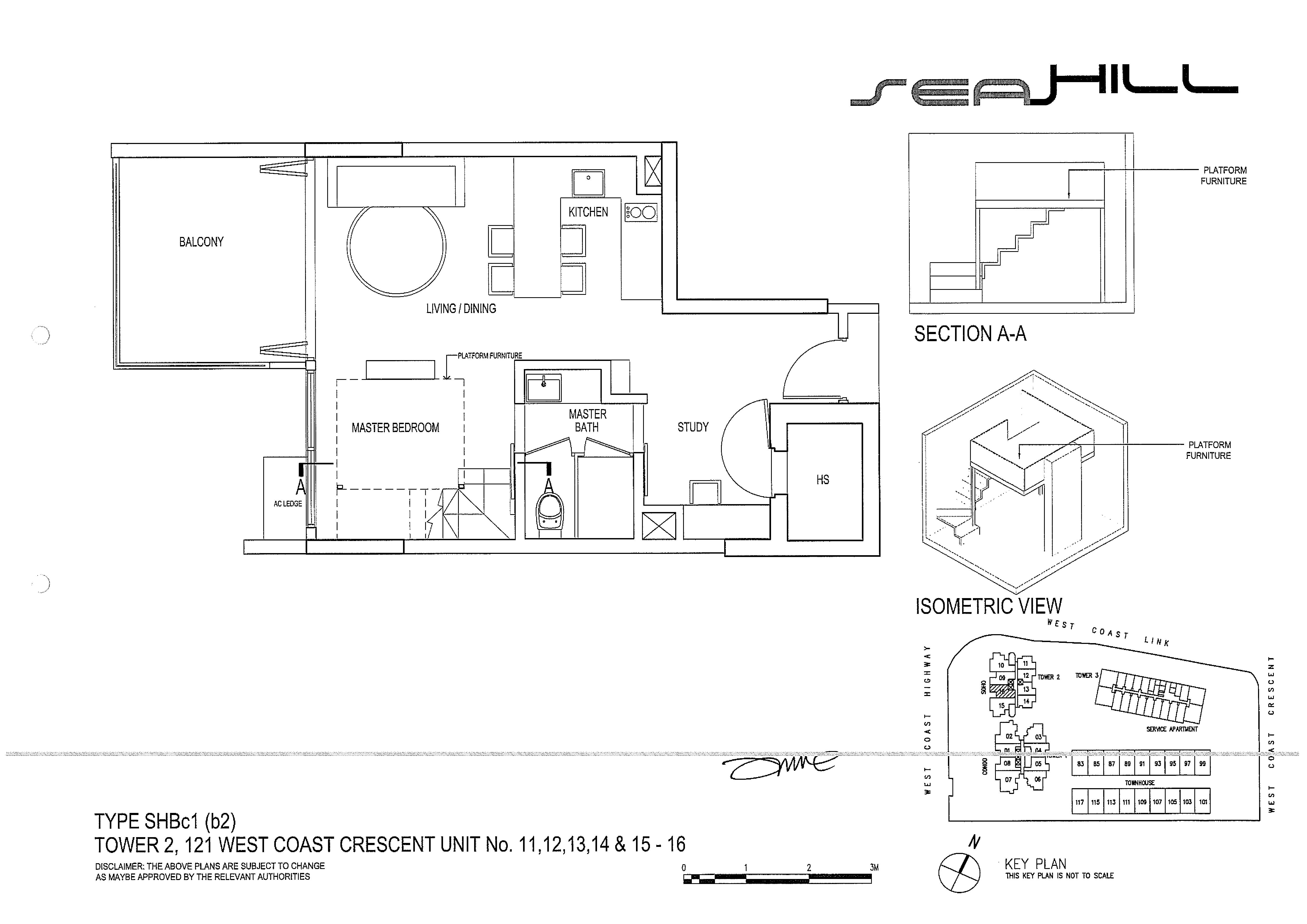 Seahill 1 Bedroom + Study Soho Type SHBc1(b2) Unit 11/12/13/14/15-16 Floor Plans
