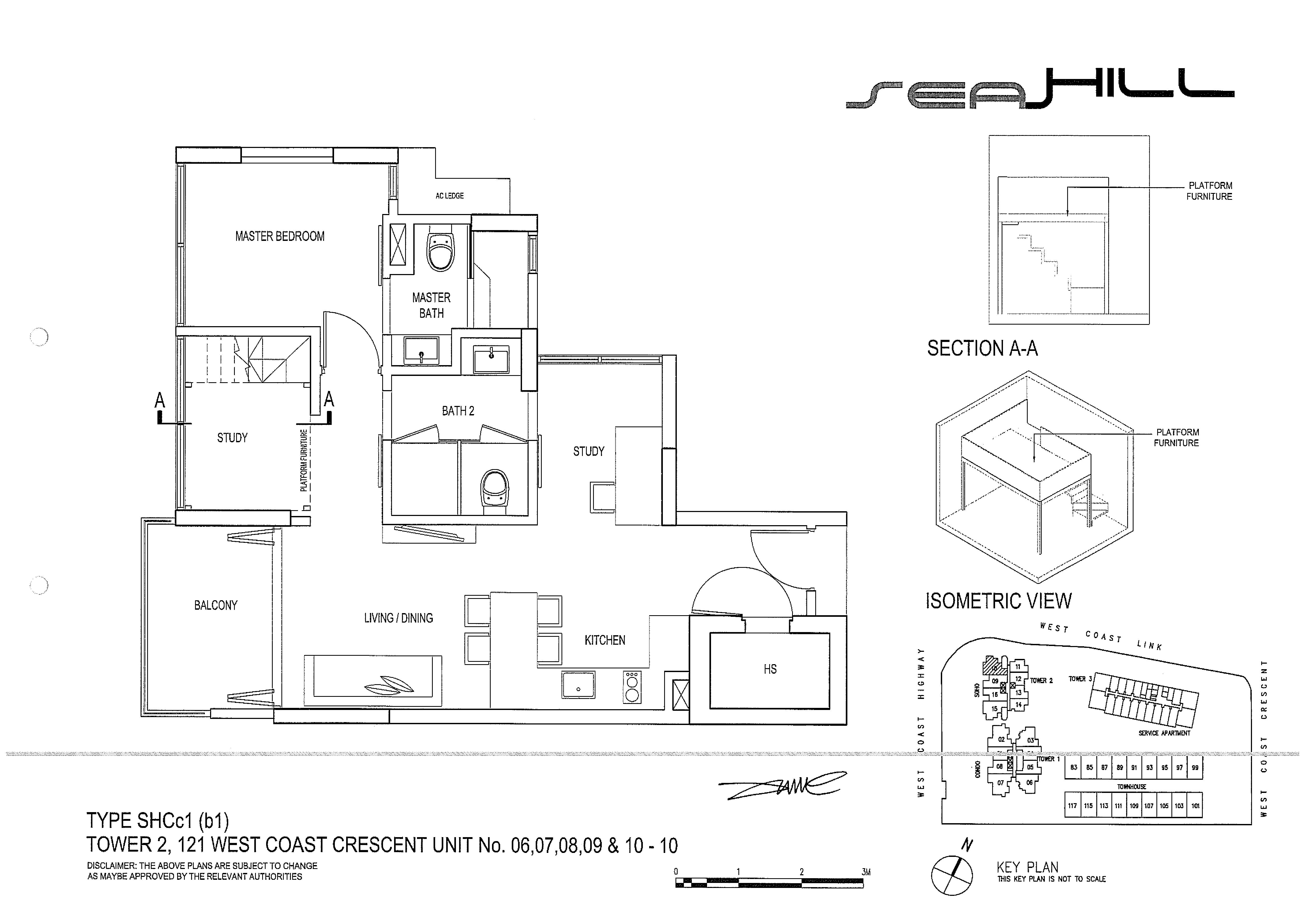 Seahill 2 Bedroom + Study Soho Type SHCc1(p1) Unit 06/07/08/09/10-10 Floor Plans