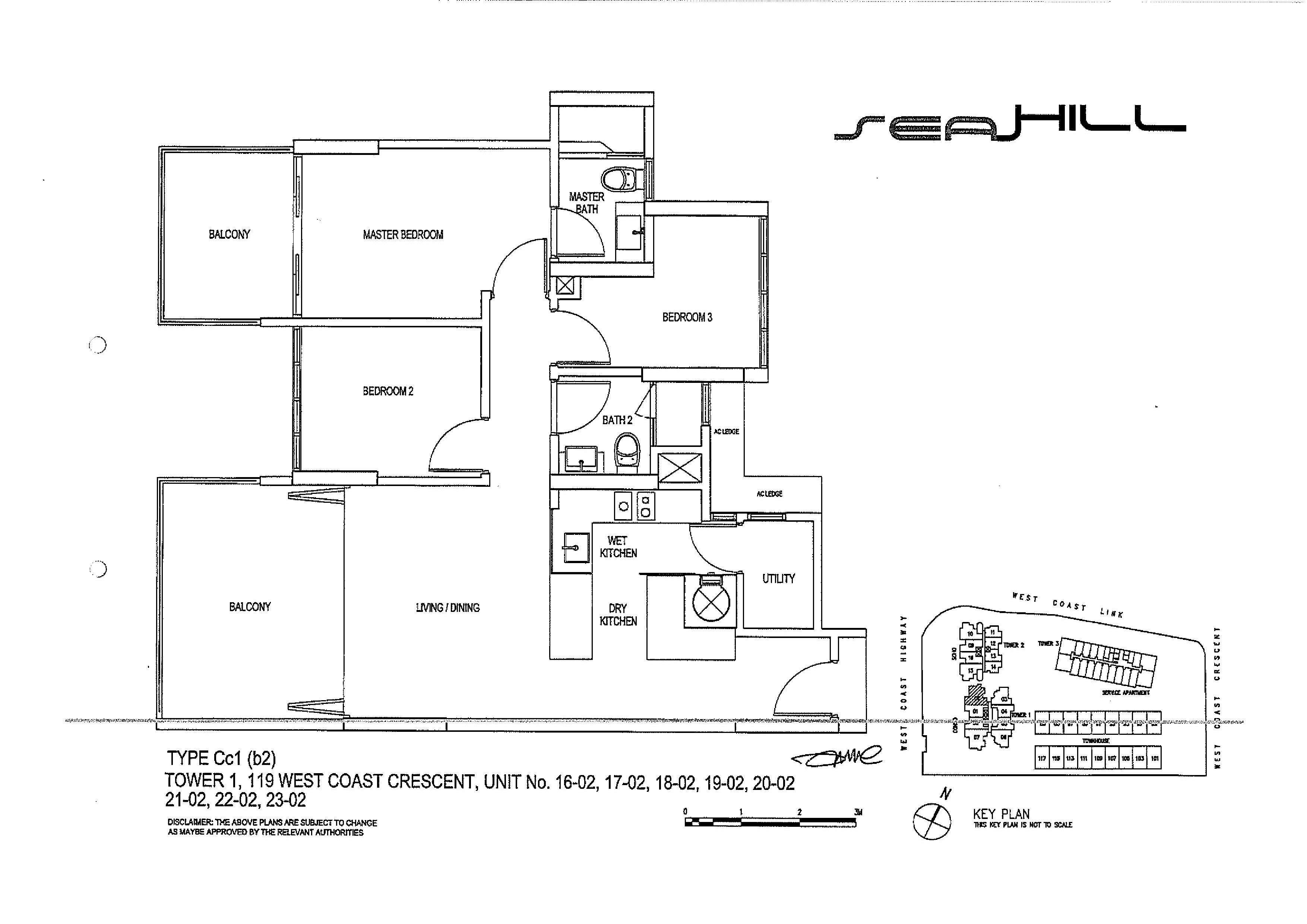 Seahill 3 Bedroom Condo Type CC1(b2) Unit 16-02 to 23-02 Floor Plans