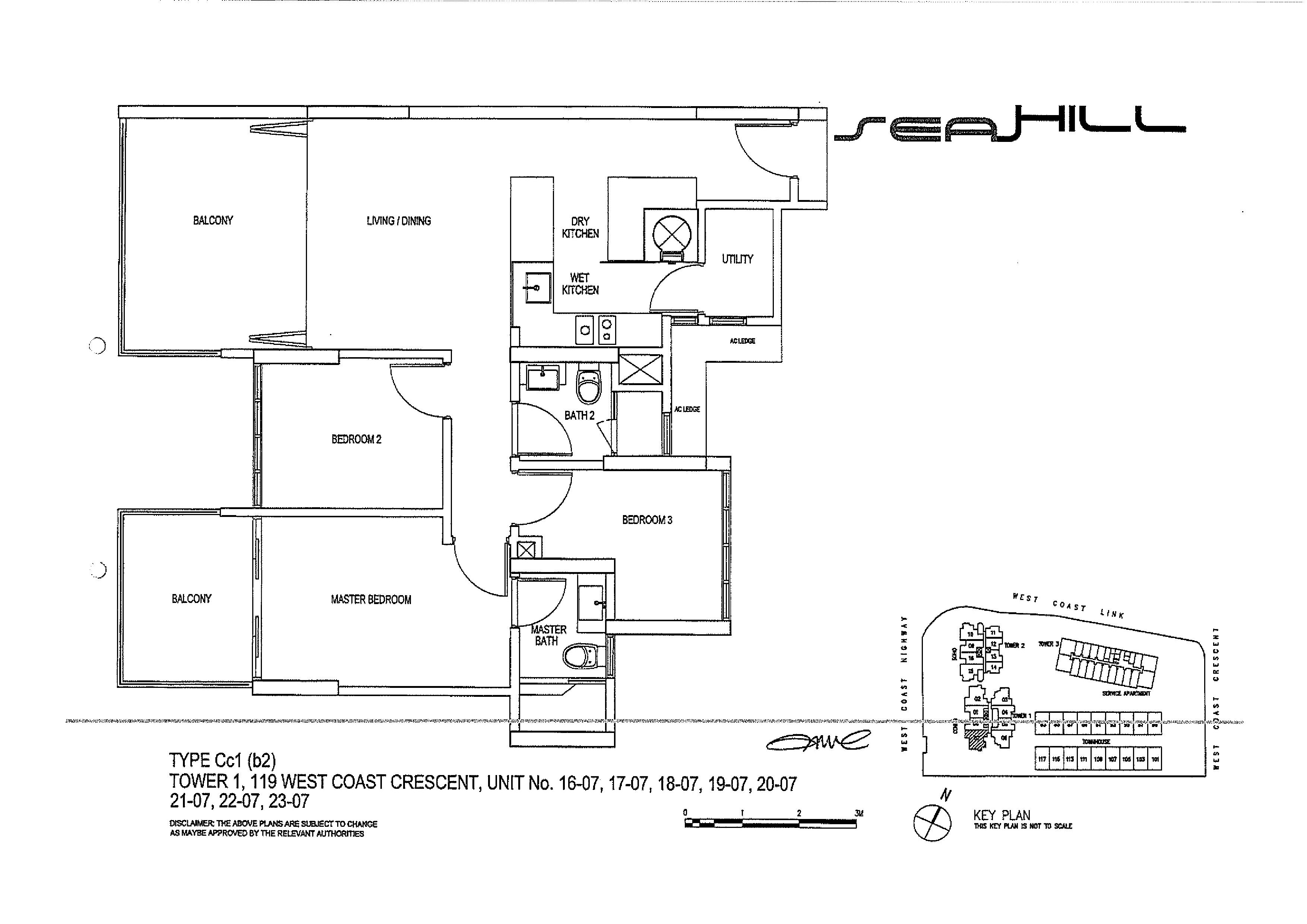 Seahill 3 Bedroom Condo Type Cc1(b2) Unit 16-07 to 23-07 Floor Plans