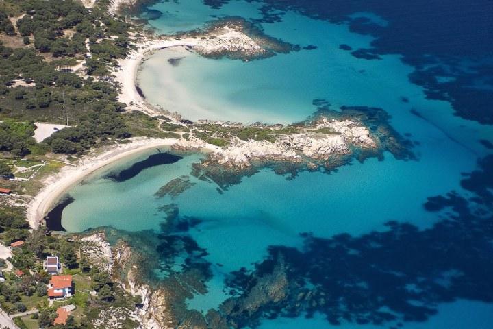 Aerial photo of Karydi central beach