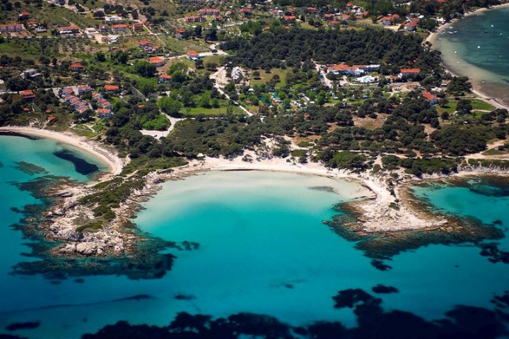 Aerial photo of Karydi central beach