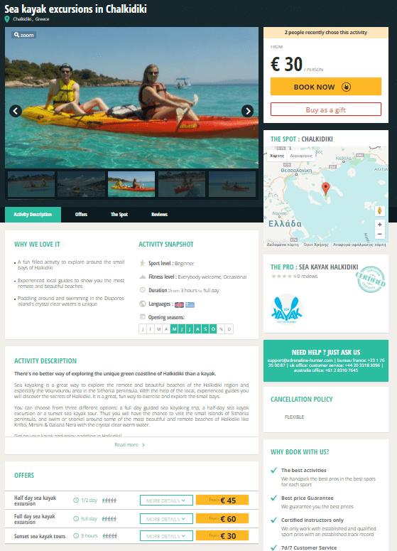 Sea Kayak Halkidiki on Adrenaline Hunter
