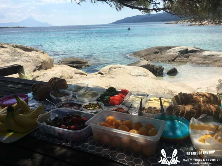 best destination for holiday activities-sea kayak halkidiki picnic lunch