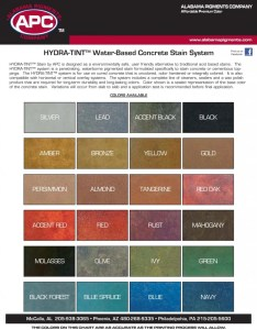 Apc hydra tint water based concrete stain system color chart also decorative charts sealant depot resources rh sealantdepot