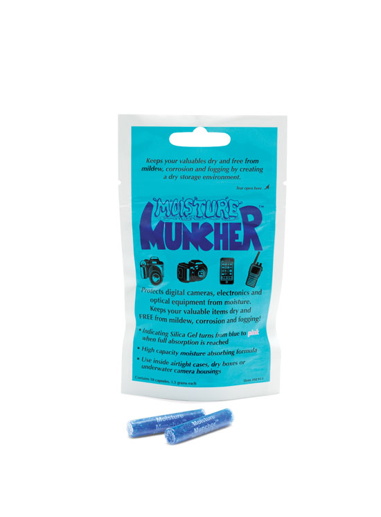 Moisture muncher for underwater camera