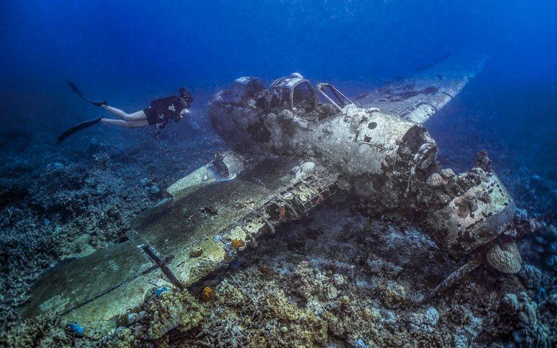 japanese sea plane underwater palau airplane wreck