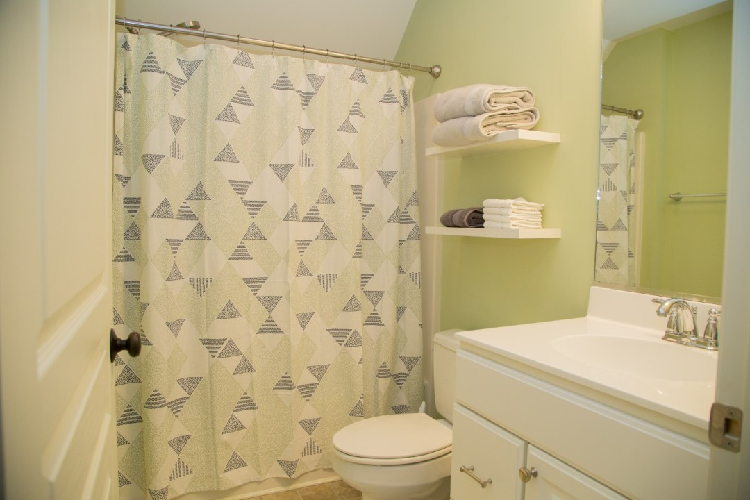 Bathroom with Green Wall Paint, Shower Curtain and Large Mirror