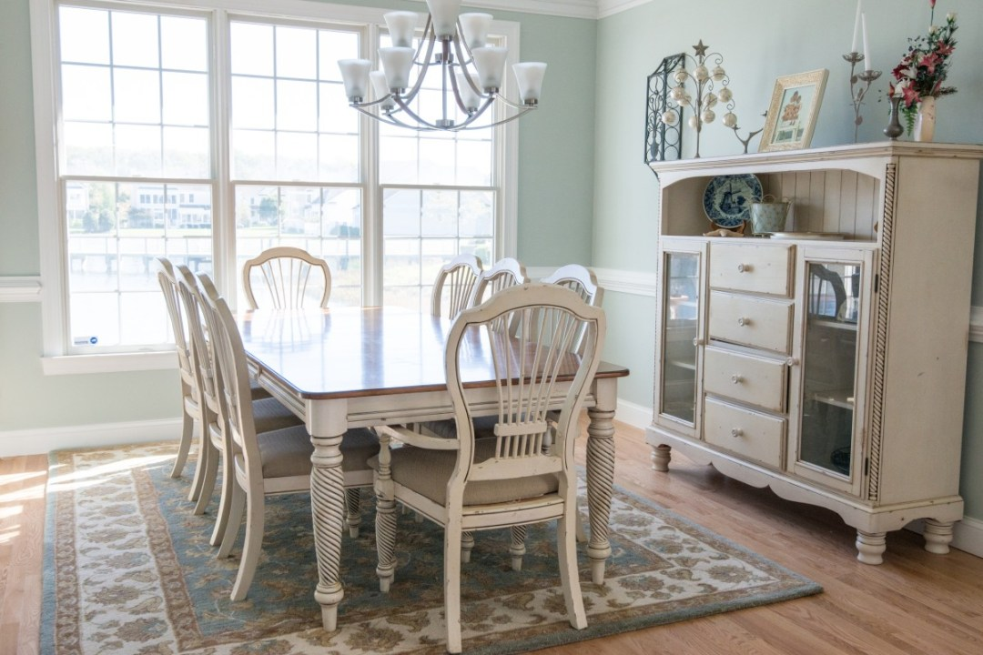 Bethany Lakes Renovation Bethany Beach, DE with Vintage Furniture, Dining Table, Wood Flooring, Carpet and Large Windows