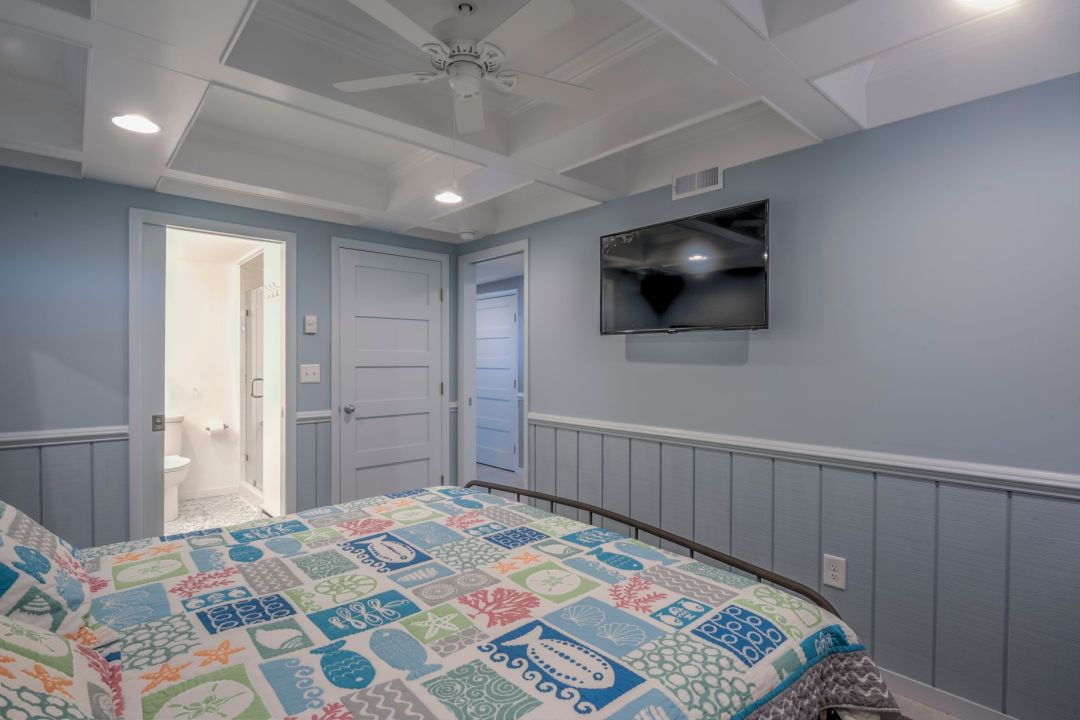 Renovation in Campbell Place, Bethany Beach DE - Bedroom with Wall Mount TV