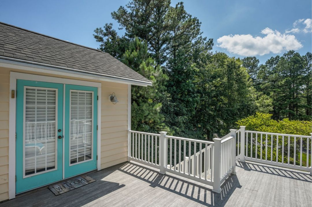 Deck Addition in Canal Drive, Millsboro DE with Teal Door Frame
