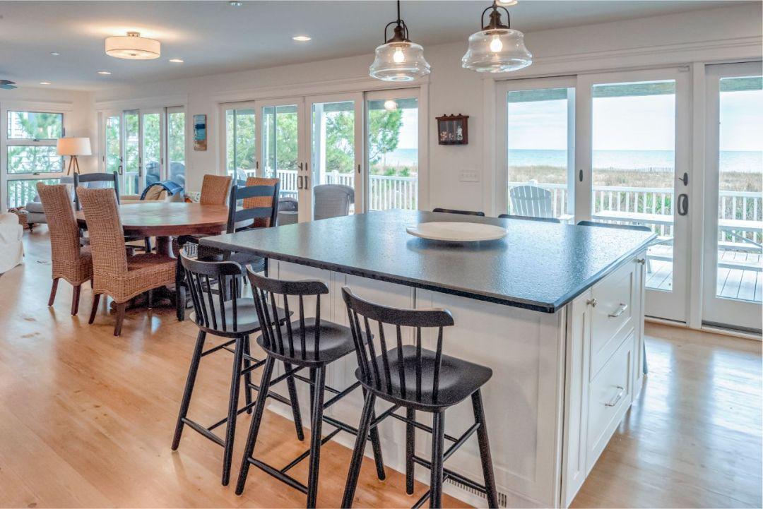 Center Island next to Oval Dining Table