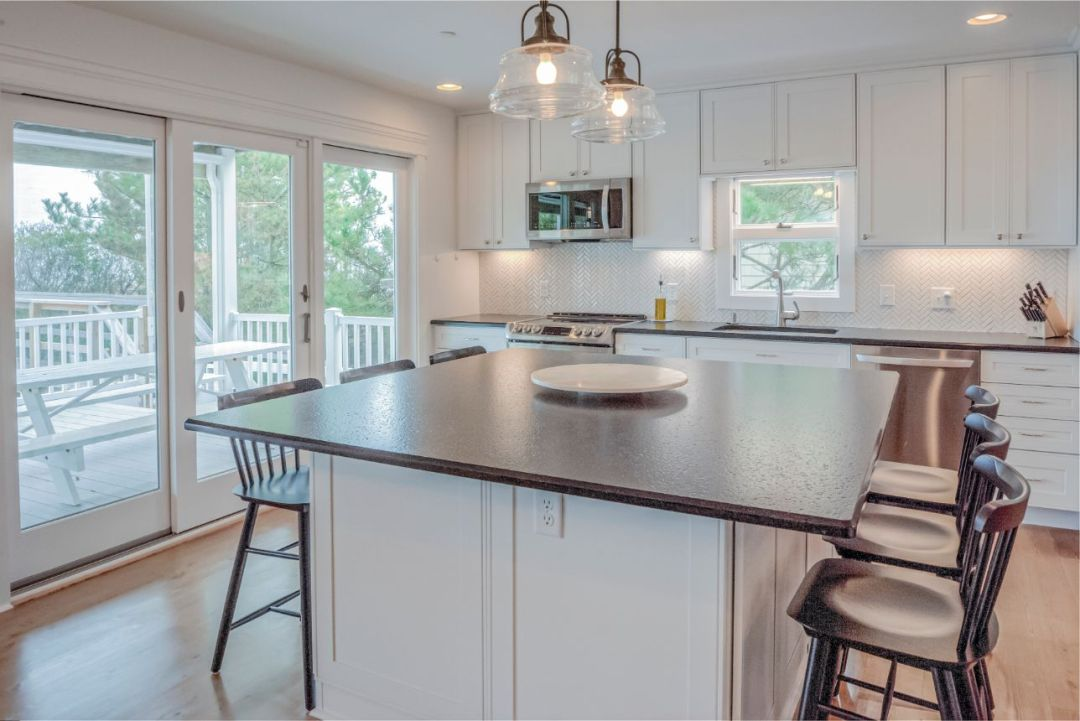 Contemporary White Kitchen with Center Island