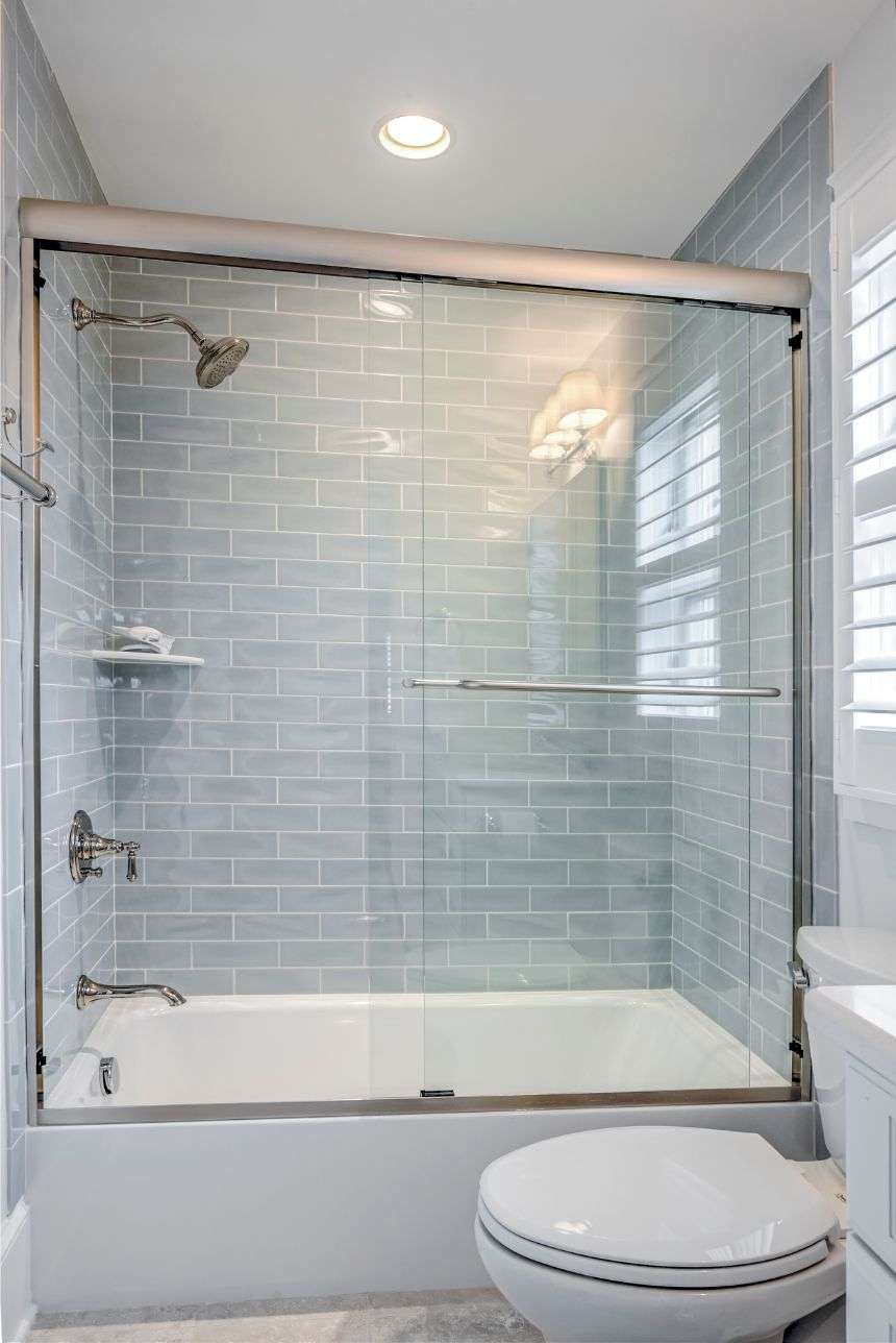 Guest Bathroom with Sliding Shower Glass Door