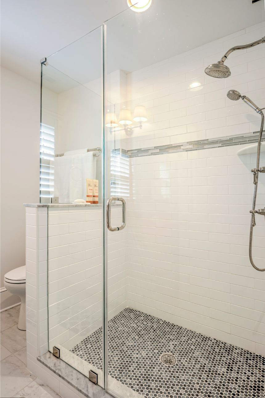 Guest Bathroom with Mosaic Tiles on Shower Floor and White Subway Wall Tiles