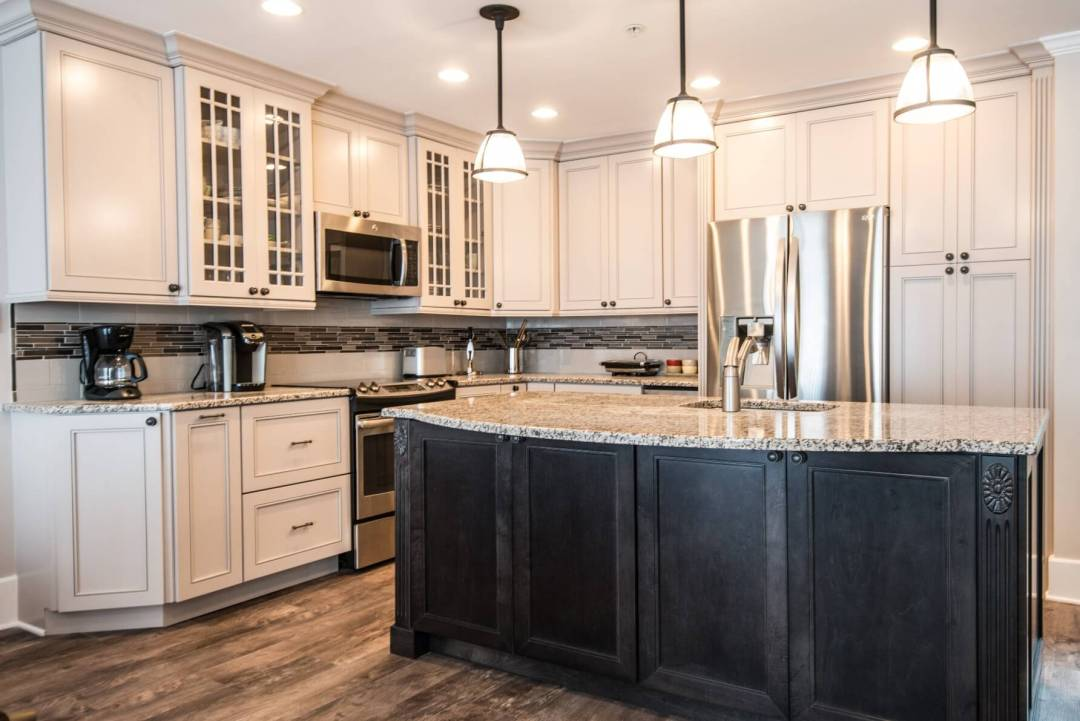 Kings Grant Renovation Vol.2 Kitchen with White Wood Cabinets, Tiles Backsplash, Dark Wood Center Island with Granite Countertop